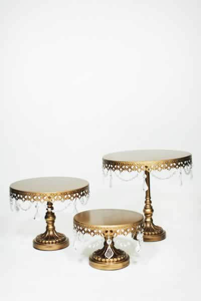 Serving Accessories Gold Beaded Cake Stands